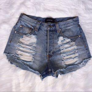 MINKPink ripped high-waisted denim shorts